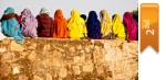 2nd place, women on a wall in India (Susan I. Cohen)